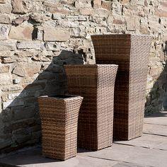Patio Planters (Set of Three Tubs) Polyrattan Wicker Finish