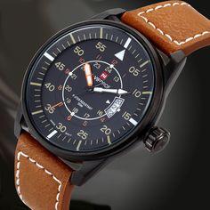Naviforce Genuine Leather Luminous Hands Date Waterproof Watch