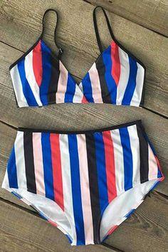 Cupshe Color the Coastline Stripe Bikini Set