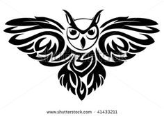 Vector version. Black owl symbol isolated on white as a wisdom concept - stock vector