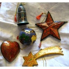 Traditional Papier-mache Christmas Tree Decorations handmade and delicately painted from India Christmas Tree Decorations, Christmas Ornaments, Holiday Decor, Christmas 2015, Christmas Ideas, Tree Shop, Christmas Traditions, Norfolk, Fair Trade