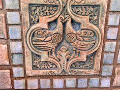 Batchelder tile. Two birds. Fireplace in Monrovia. 1923