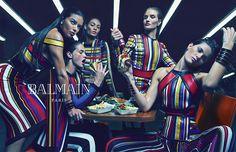 Hamburger eating models in Balmain S/S 2015 campaign. Photo: Mario Sorrenti