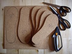 Cork shoe soles.  Another use for my scrap cork.