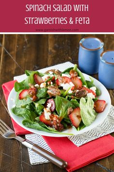 Summer salads are the best meals ever, and this Spinach Salad with Strawberries and Feta is the perfect way to use your bumper crop of berries! ~ http://www.garnishwithlemon.com