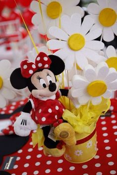 Cute centerpiece at a Minnie Mouse Polka dots Birthday Party!  See more party ideas at CatchMyParty.com!