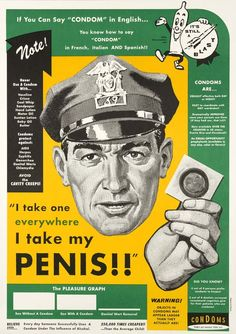 Propaganda de incentivo ao uso da camisinha nos anos 50 em Seattle, nos Estados Unidos.