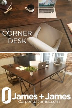The Corner Desk from James+James is built by hand at our wood shop in Northwest Arkansas. This L-Sha. Solid Wood Furniture, Dining Furniture, Custom Furniture, Office Furniture, Office Decor, Solid Wood Dining Table, Wood Table, Handmade Desks, L Shaped Desk