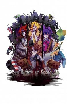 Freddy, Foxy, Chica, Bonnie, text, human form, boy, girl; Five Nights at Freddy's