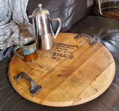 This beautiful, custom made to order, serving tray and wall décor piece has been handcrafted from reclaimed and repurposed authentic bourbon barrels by skill. Wine Barrel Rings, Barrel Bar, Bourbon Barrel, Whiskey Barrels, Whisky Barrel Lid, Wine Barrel Lazy Susan, Bourbon Gifts, Automotive Decor, Automotive Furniture