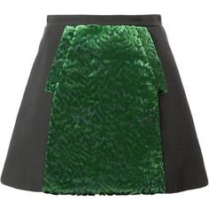 Delpozo Panelled a-Line Mini Skirt (51,640 PHP) ❤ liked on Polyvore featuring skirts, mini skirts, black, black skirt, black miniskirt, short mini skirts, short skirts and black a line skirt
