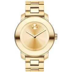 Movado Bold Bold -Tone Stainless Steel Bracelet Watch ($650) ❤ liked on Polyvore featuring jewelry, watches, accessories, bracelets, gold, stainless steel bracelet, gold tone jewelry, stainless steel jewelry, movado wrist watch and stainless steel jewellery