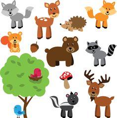 Een vrolijk stickervel met allemaal bosdieren en een boom erop. Zo vrolijk je de kinderkamer snel op.