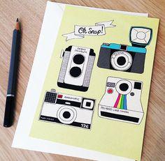 Oh Snap Vintage Cameras Postcard by sarahfrancesart on Etsy, £1.50
