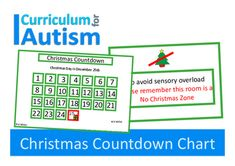 Free Christmas Countdown Calendar Chart for students with autism and special needs who may be anxious or confused about Christmas approaching (and don't like traditional advent calendars)Also included is a No Christmas Zone poster for your class, calm down, or sensory rooms for students who become overloaded by too much sensory input at Christmas time, and need a quiet space without trees, lights & ornaments.My teen son with autism becomes anxious about Christmas really early, so every ye...