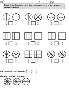 This activity has students shade fractions and then compare the two fractions using >, ...