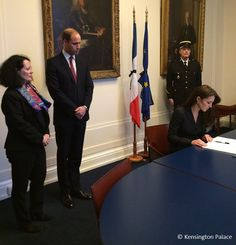 Catherine, Duchess of Cambridge, signs the book of condolences after the terror attacks which killed at least 129 people in Paris, at the French Embassy on November 17, 2015 London.