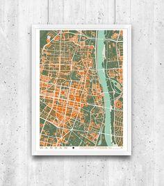 dodatki - plakaty, ilustracje, obrazy - grafiki i ilustracje-Warszawa - plan miasta - plakat A2