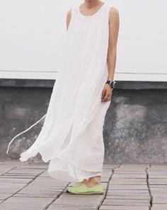 White Dress linen women dress white dress loose von fashiondress6, $125.00