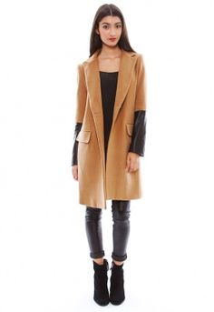 Mason By Michelle Mason Coat with Leather Sleeves