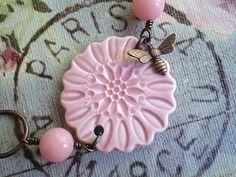 Pink Lemonade Ceramic Flower Bracelet