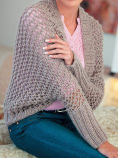 Free Knitting Pattern for Open Lacy Shrug - Lace sweater wrap is knit with a repeat and sleeves are knit separately and sewn on. Quick knit in bulky yarn. Designed by Elaine van Wyk. Shrug Knitting Pattern, Knit Shrug, Sweater Knitting Patterns, Knitted Shawls, Lace Knitting, Knitted Bags, Crochet Patterns, Poncho With Sleeves, Easy Knitting Projects