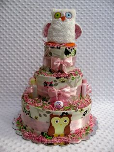 owl diaper cake Baby Shower Crafts, Baby Shower Decorations, Shower Party, Shower Time, Bridal Shower, Owl Diaper Cakes, Diaper Cake Centerpieces, Baby Owls, Baby Baby