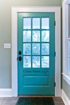 door color - sw 6472 composed love the gray floors and turquoise door Sico, Turquoise Door, Turquoise Kitchen, Teal Door, Azul Tiffany, Front Door Colors, Home Safes, Back Doors, Inside Doors
