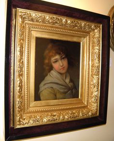 Girl Portrait Painting 19th Century Oil on Board. Signed, under glass in a Gilded Frame