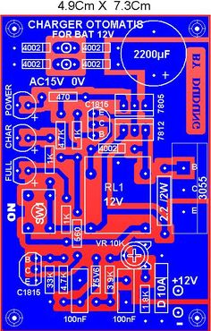 PCB Automatic battery charger circuit - News Technology Battery Charger Circuit, Automatic Battery Charger, Electronic Circuit Projects, Electronics Projects, Simple Electronics, Arduino, Battery Hacks, Golf Cart Batteries, Cell Phone Service