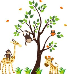 Jungle Animal Wall Decals Jungle Animal Wall Decals With Giraffe Elephant  Zebra Monkey Owl, Boys Room Wall Decals Stickers, Girls Boys Room Wall Decor,  ...