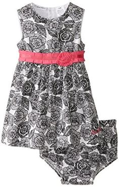 683266c7745 Calvin Klein Baby Girls  Black White Flower Print Dress with Panty