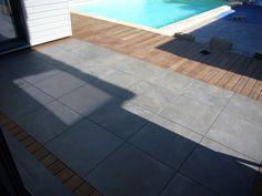 terrasse mixte en grès- cérame et bois Kebony