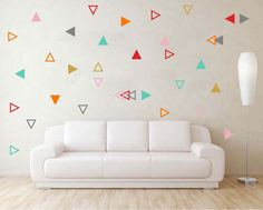 60 Triangle Combo wall decal Outlined Triangle wall stickers