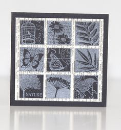 Inchie Card by CoffeeGal, ...square, monochromatic, white on black, nature theme..