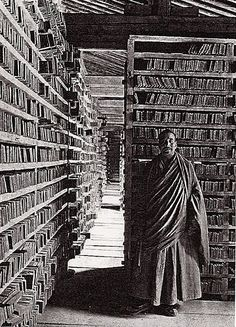 Choni Monastery Library in Gansu Province, China. This fascinating photograph was taken in 1925 by Joseph Rock, an Austrian-born American botanist, anthropologist and explorer who lived in Southwest China from the 1920s to 1949.
