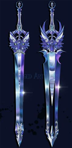 Swords, wolf, dragon, cool, purple; Anime Weapons