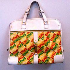 RARE L A M B Rasta White Handbag Satchel by Gwen Stefani Runway Sample Brief | eBay