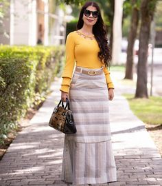 Image may contain: 1 person, standing and outdoor Modest Dresses, Modest Outfits, Modest Fashion, Hijab Fashion, Fashion Dresses, Girls Dresses, Casual Outfits, Blue Skirt Outfits, Church Outfits