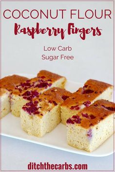 Beautiful sugar-free coconut flour raspberry fingers. Light and tasty, gluten free heaven without the carbs or sugar. | ditchthecarbs.com via @Ditch The Carbs