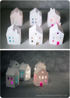 Cute little paper houses (free template) to make