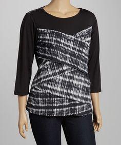 Love this Black & White Tie-Dye Bandage Top - Plus by Allie & Rob on #zulily! #zulilyfinds
