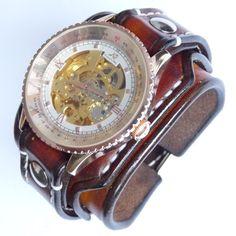 Vintage Wrist Watch, Mans Leather Watch, Bracelet watch, Leather Cuff, Cuff watch, Brown Watch