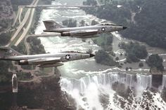 Two NYANG F-101B Voodoo from the 107th Fighter Interceptor Group of NORAD over Niagara Falls, early 1980s.