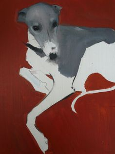 Sally Muir, A Dog A Day, Lily Oil on Board