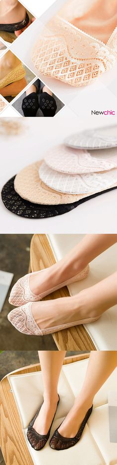 [Special 3 / US$11.19] Women Girls Summer Breathable Elasticity Lace Antiskid Invisible Boat Socks Short Ankle Socks