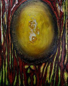 """peinture acrylique de Carole HERVIER  """"Nidification"""" 40x50 cm"""