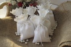 Small favor bags - White linen sachets -  fabric gift bags - Seed bags -  Bridal-Showers-favors, set of 10 on Etsy, $14.02