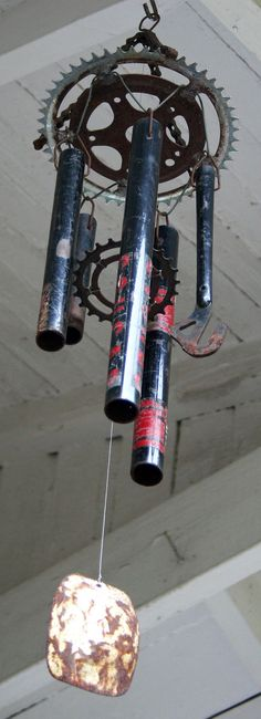 Black Cougar Bicycle Windchime by reCycles on Etsy, $30.00