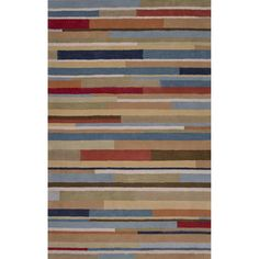 JaipurLiving Traverse Wool Hand Tufted Blue/Red Area Rug Rug Size: